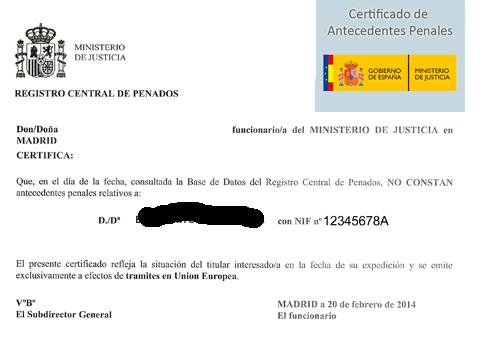 certificado de antecedentes penales, ejemplo