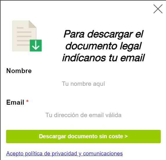 """Modal con el botón """"Descargar documento sin coste"""" del sitio web de La Legalista."""