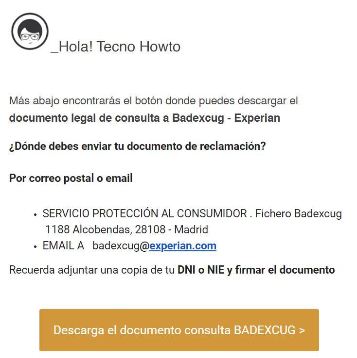 """Botón """"Descarga el documento consulta BADEXCUG"""" del email de La Legalista."""