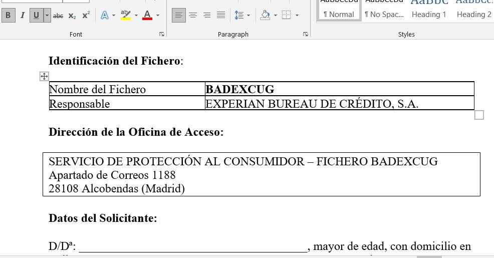 Muestra del modelo de carta de La Legalista para enviar a Experian y pedir tu fichero Badexcug.