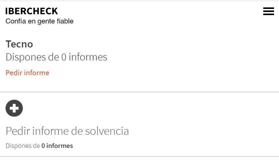 """Página de Ibercheck con la opción """"Pedir informe de solvencia""""."""