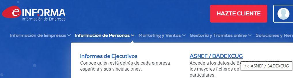 """Opción """"ASNEF / BADEXCUG"""" del menú """"Información de Personas"""" en la página de eInforma."""