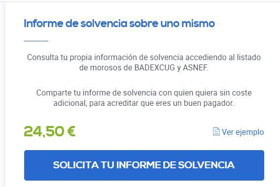"""Botón """"Solicita tu informe de solvencia"""" de la página que aparece al clicar en la opción """"ASNEF / Badexcug""""."""