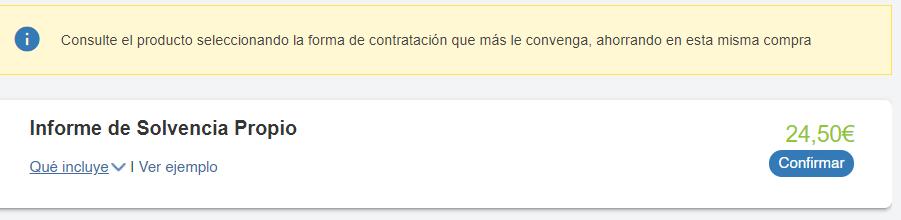 """Botón """"Confirmar"""", el cual te lleva a la página de pago para pedir un informe de eInforma."""