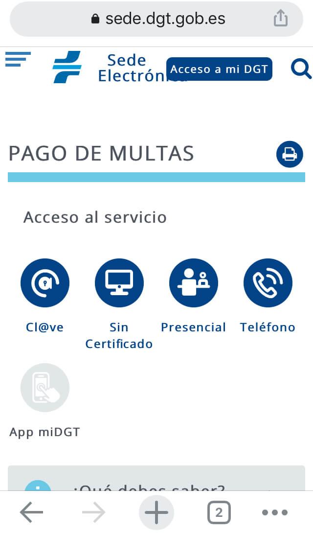 """Opción """"acceso al servicio"""" para el pago de multas de la página de la DGT."""