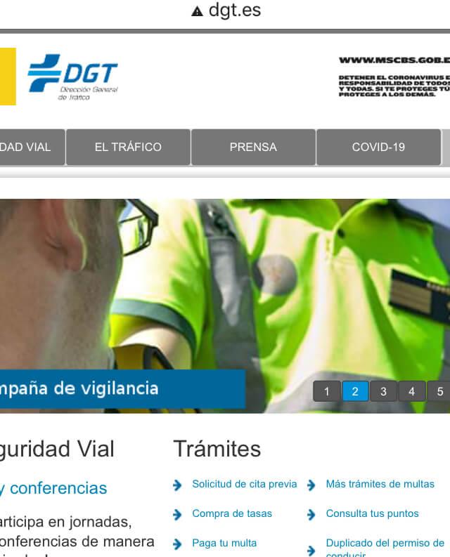 """Enlace """"paga tu multa"""" del sitio web de la DGT."""