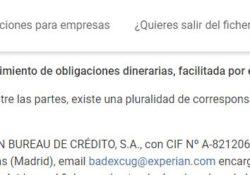 Email y dirección postal de Experian en donde puedes pedir tu fichero Badexcug.