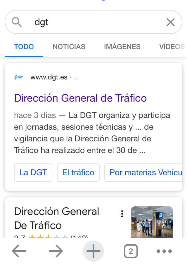 """Resultados de Google al buscar la palabra """"DGT"""""""