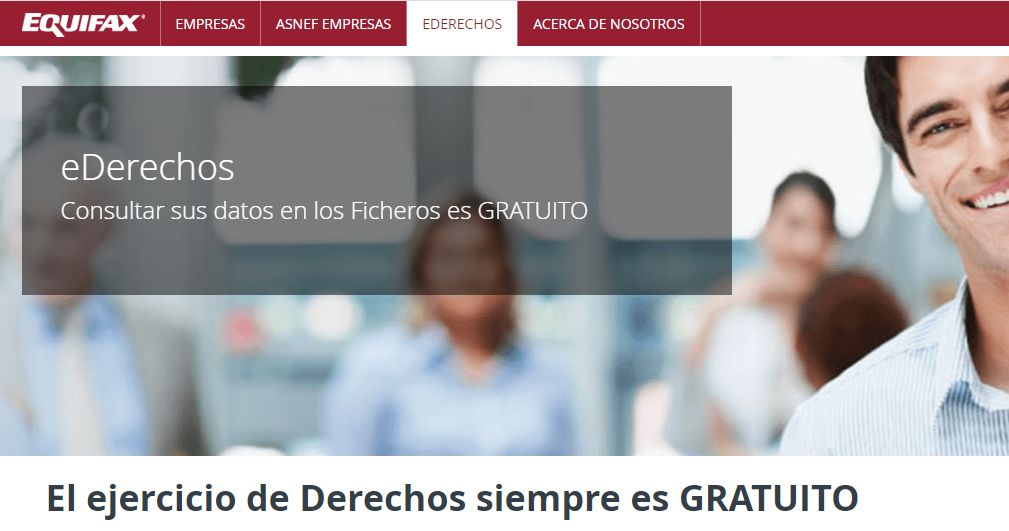 """Página """"EDERECHOS"""" del sitio web de Equifax España."""