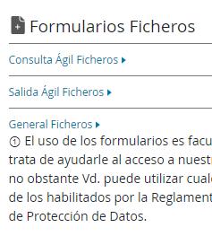 """Enlace """"Consulta Ágil Ficheros"""" de la página de EDERECHOS de Equifax."""