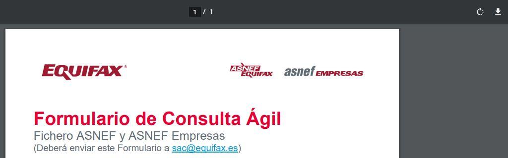 PDF del formulario de Equifax, con el icono de la flecha apuntando hacia abajo para descargar el PDF.