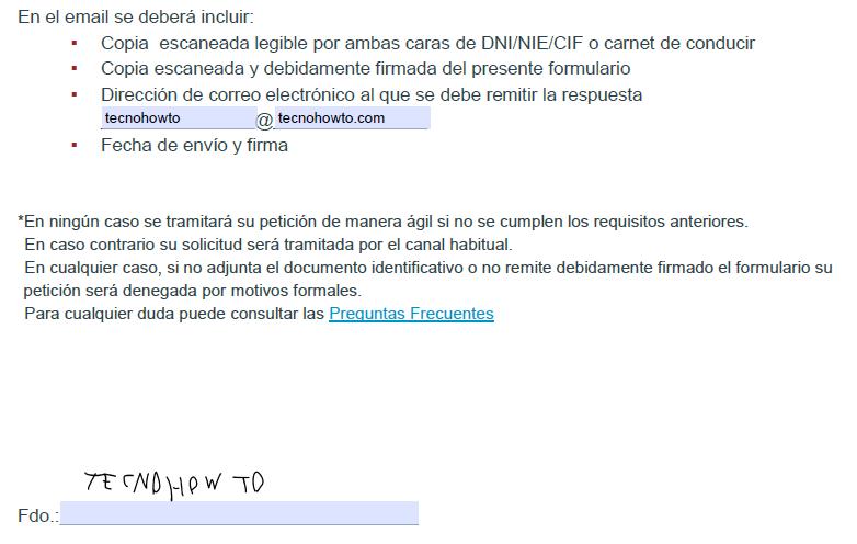 Muestra de la planilla en formato PDF de la consulta ágil de Equifax firmada y con los campos rellenados.