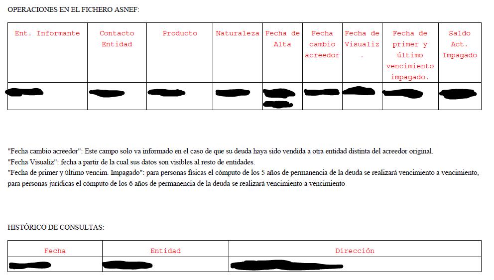 Fichero ASNEF mostrando tu información de deudas y el histórico de consultas.
