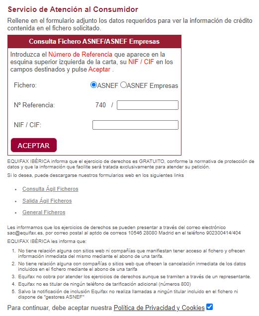 Formulario para acceder a tu fichero ASNEF por internet con tu número de referencia.