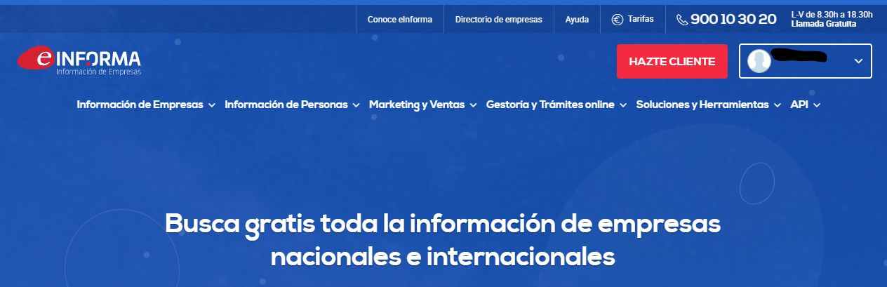 Landing page del sitio web de eInforma.