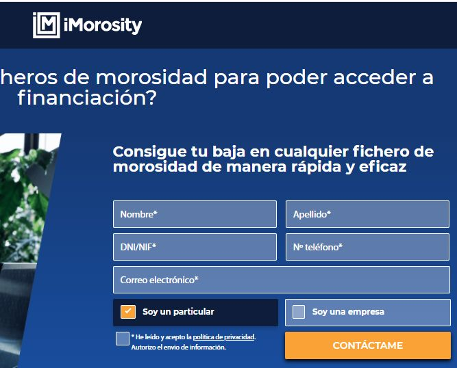 Formulario de contacto para que iMorosity pueda comunicarse contigo.